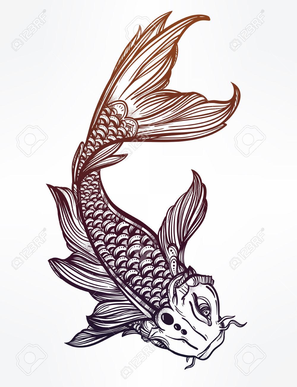 1000x1300 46673736 Hand Drawn Romantic Beautiful Line Art Of Fish Koi Carp
