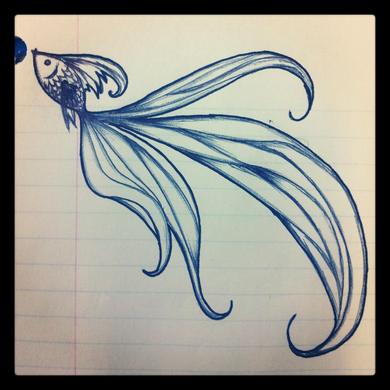 1350x1350 Beautiful Fish Drawing. Turn Into Tattoo Maybe. Really Pretty