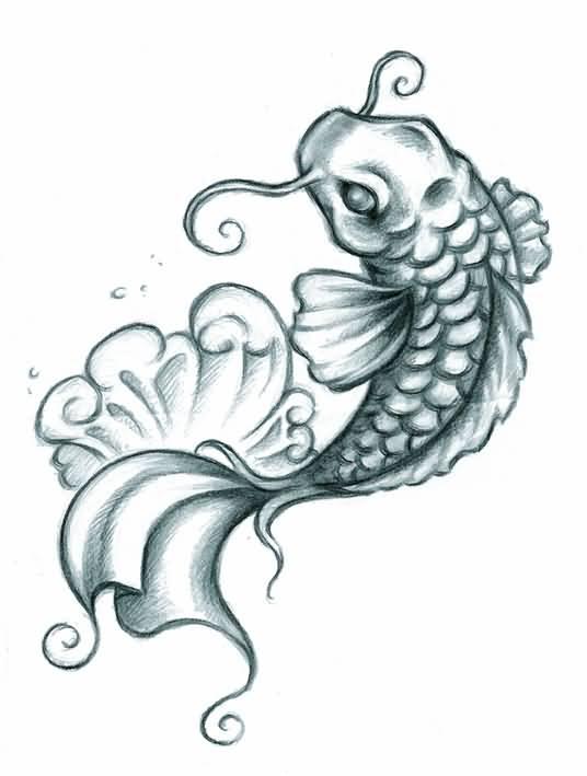 536x709 Superb Koi Fish Tattoo Draw Beautiful