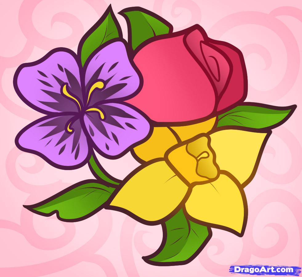981x899 Beautiful Flowers Drawing