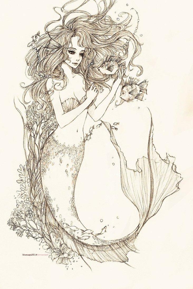 732x1092 Beautiful Mermaid Drawings In Pencil Pencil Drawings Blog