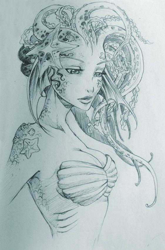 562x853 Mermaid Drawings