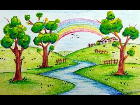480x360 How To Draw Very Easy Beautiful Scenery With Rainbow For Kids