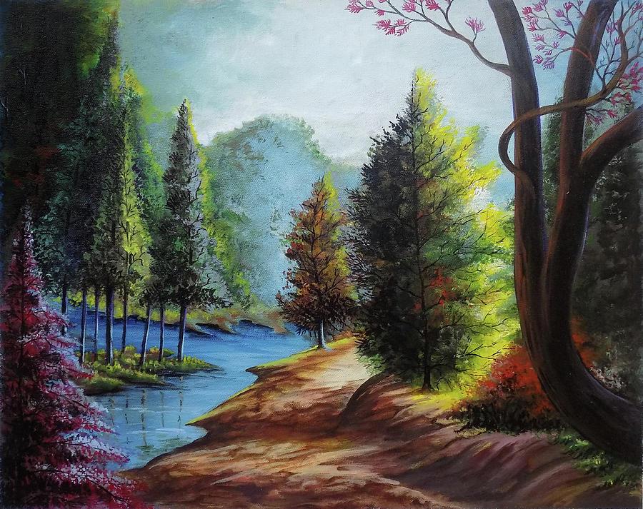 900x713 Beautiful Scenery 2 Drawing by Arun Sivaprasad