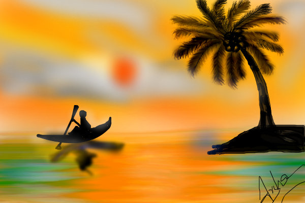 600x400 A Coconut Sunset A Fantasy Speedpaint Drawing By Ammujai