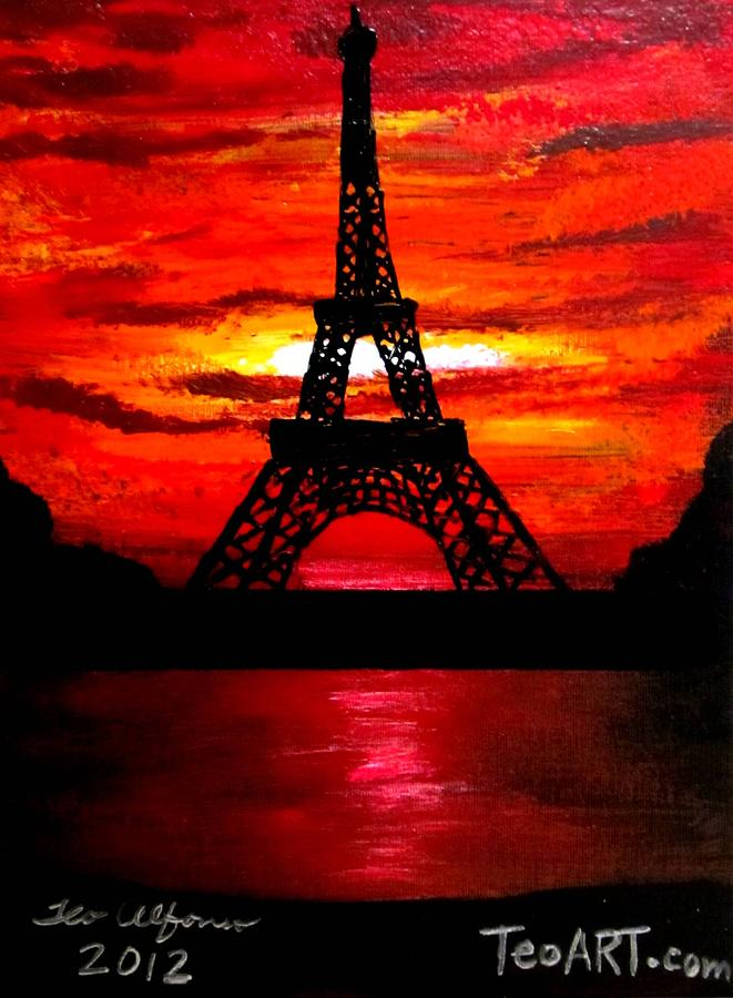 661x900 Beautiful Eiffel Tower Paris France At Sunset Painting By Teo Alfonso