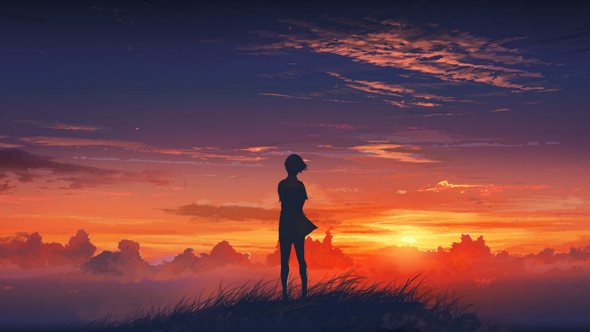 1920x1080 Beautiful Sunset Scenery Drawing Hd Wallpaper