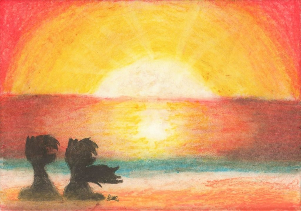 1024x717 Beautiful Sunset (Oil Pastel Drawing) By Brogararts