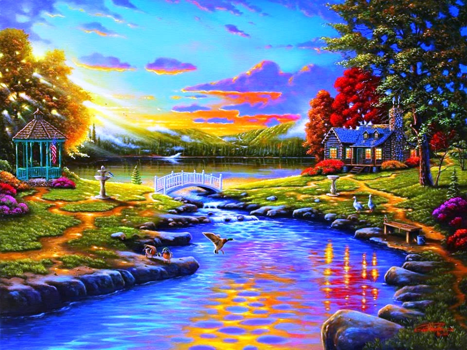 1920x1440 Sunsets Beautiful Lake Sunset Sun Evening Houses Reflection