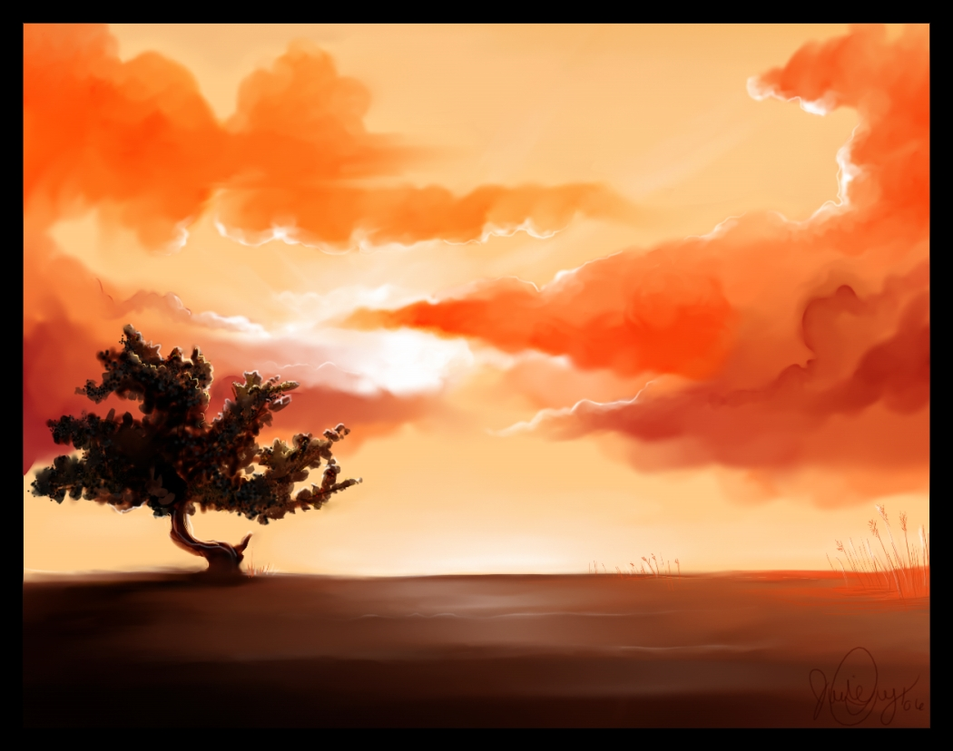 1050x828 A Beautiful Sunset With Nice Colors Drawing