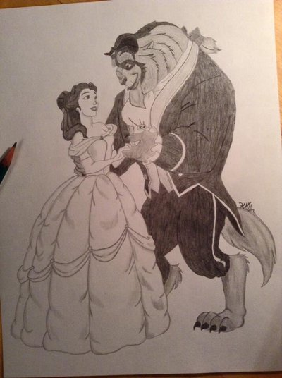 400x536 Beauty And The Beast Pencil Art By Bellawolfart