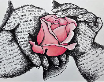 340x270 Beauty And The Beast Rose Drawn On Vintage Book Page Princess
