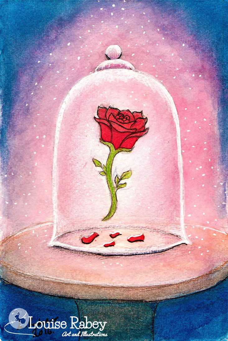 732x1091 Beauty And The Beast Inspired Rose Painted Sketch By Louise Rabey