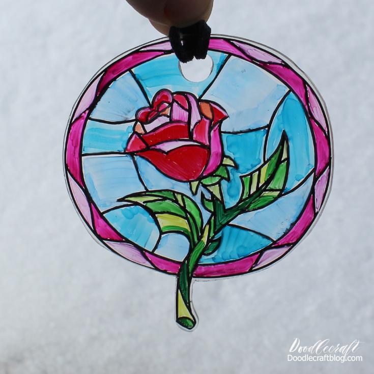 735x735 Doodlecraft Beauty And The Beast Enchanted Rose Suncatcher!