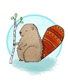 236x294 Beaver Drawing, Canadian Wildlife, Beaver Illustration, Wild