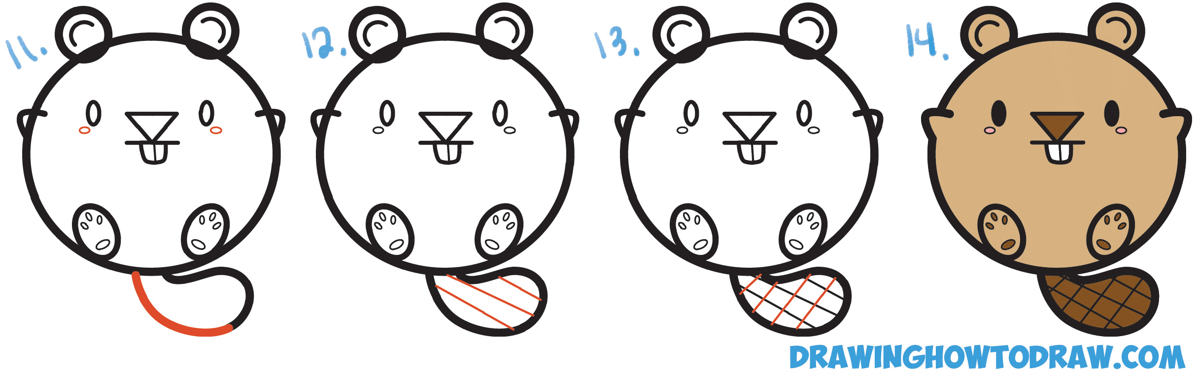 2429x764 Learn How To Draw A Cute Cartoon Beaver With Letters Easy Step By