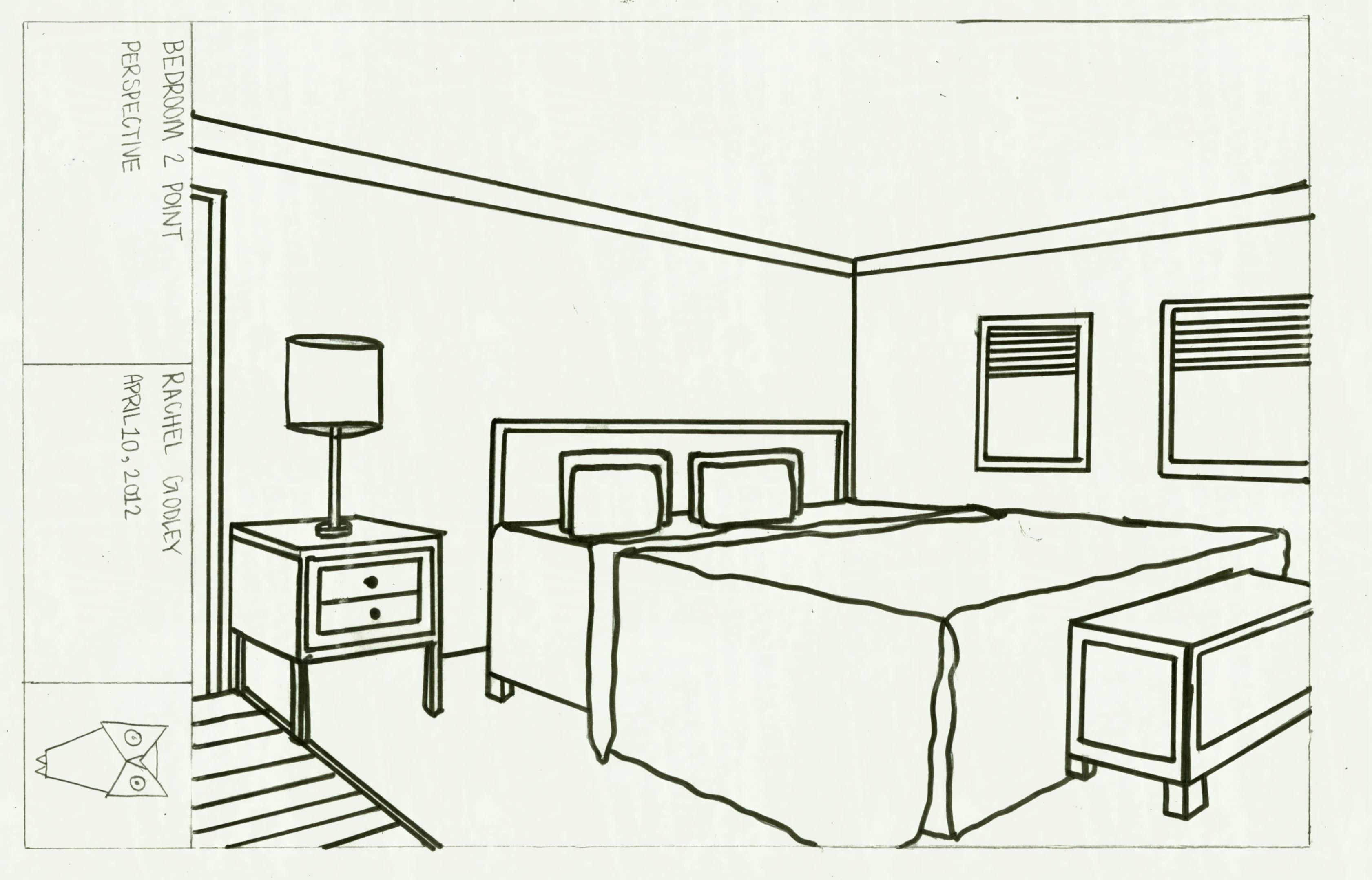 3364x2160 Drawn Bedroom Basic Interior Design Pencil And In Color Room