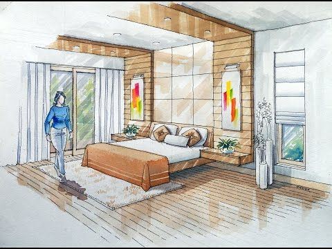Bedroom perspective drawing at free for - Two point perspective living room ...
