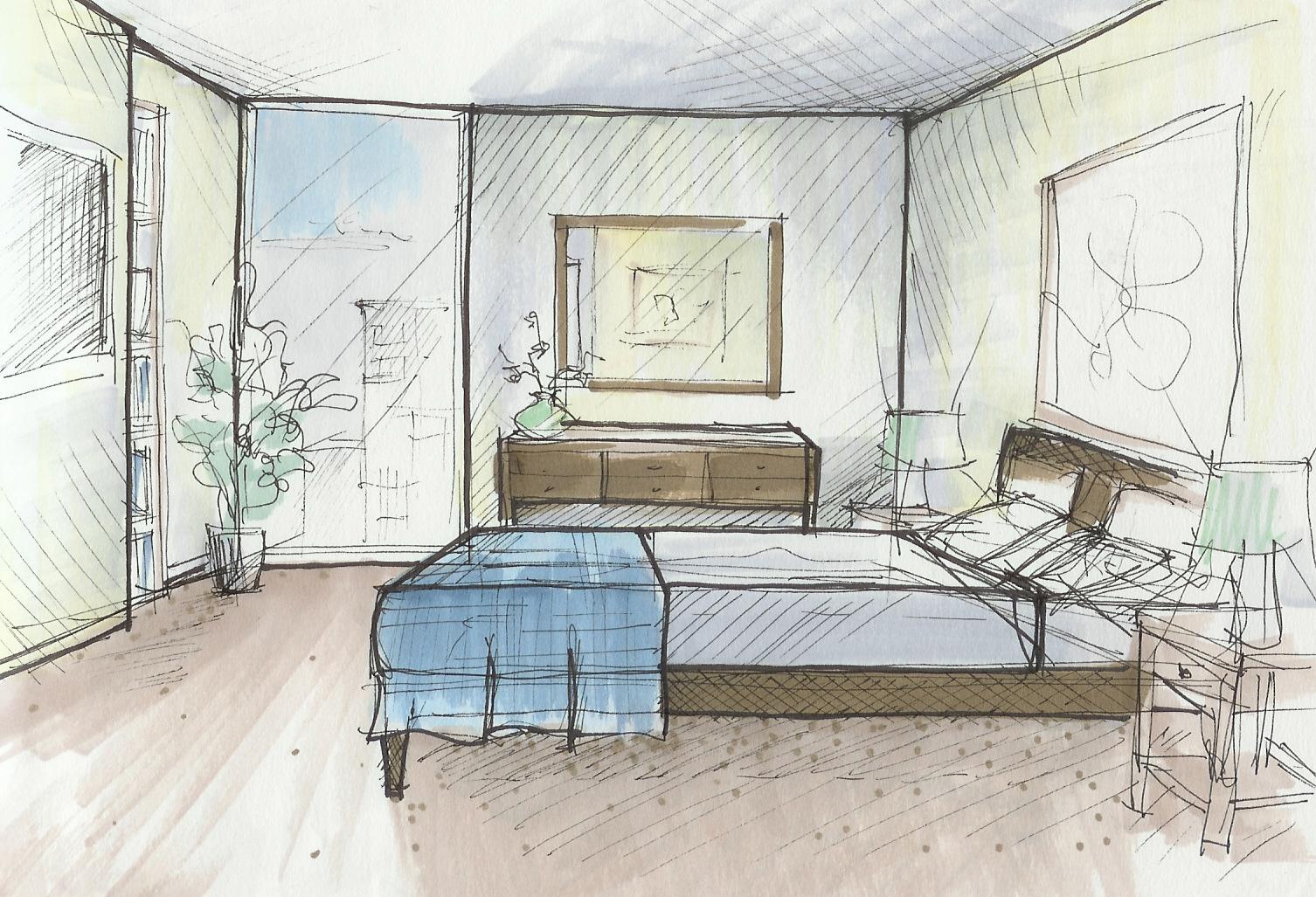 1506x1027 Bedroom Sketch Forathroom Designbedroom With The Description
