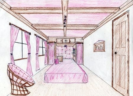 450x327 Bedroom Drawing One Point Perspective One Point Perspective