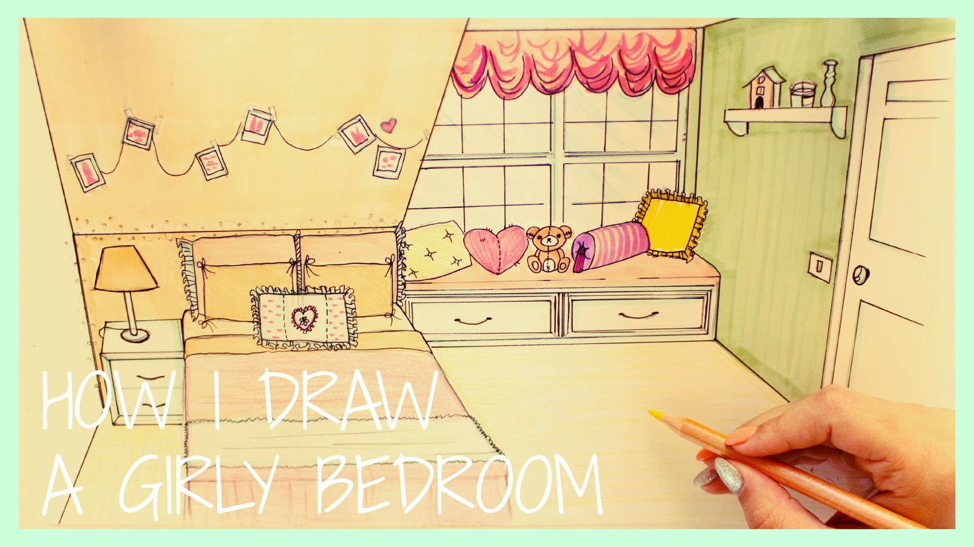 1920x1080 How I Draw A Girly Bedroom Speed Drawing