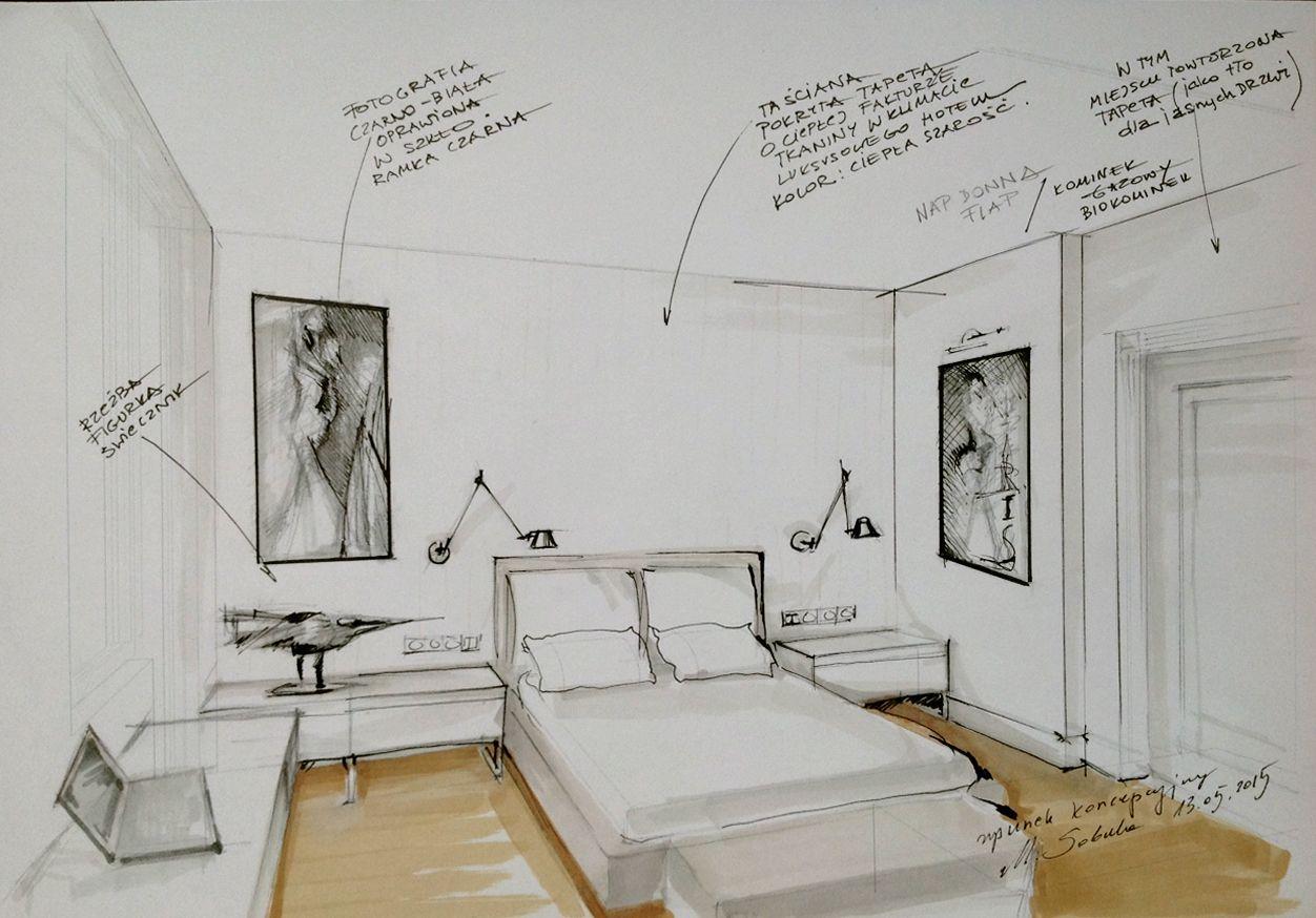 1252x874 Interior Conceptual Sketch. (Bedroom Sketch By Magdalena