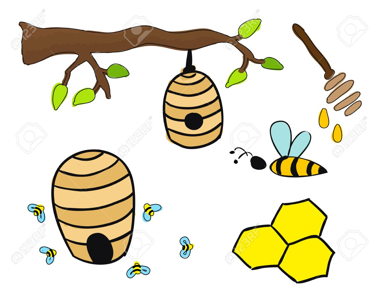 1300x1025 Beehive Drawing Royalty Free Cliparts, Vectors, And Stock