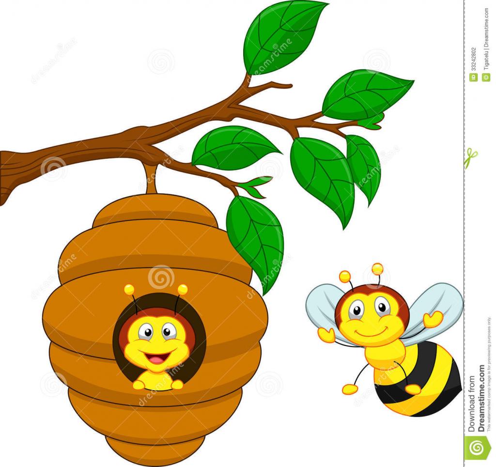 1024x964 Cartoon Drawing Honey Bee Honey Bee And Bee Hive Cartoon Stock