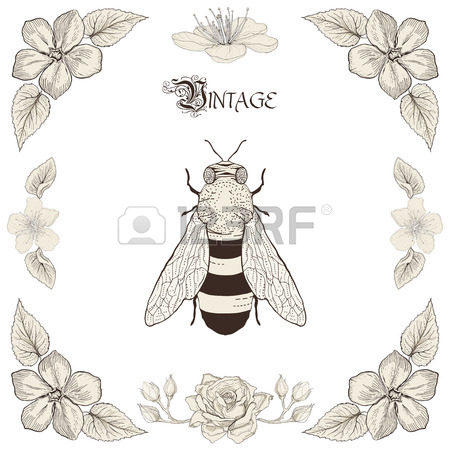 450x450 Hand Drawing Honey Bee Flowers And Leaves Decorative Floral Frame