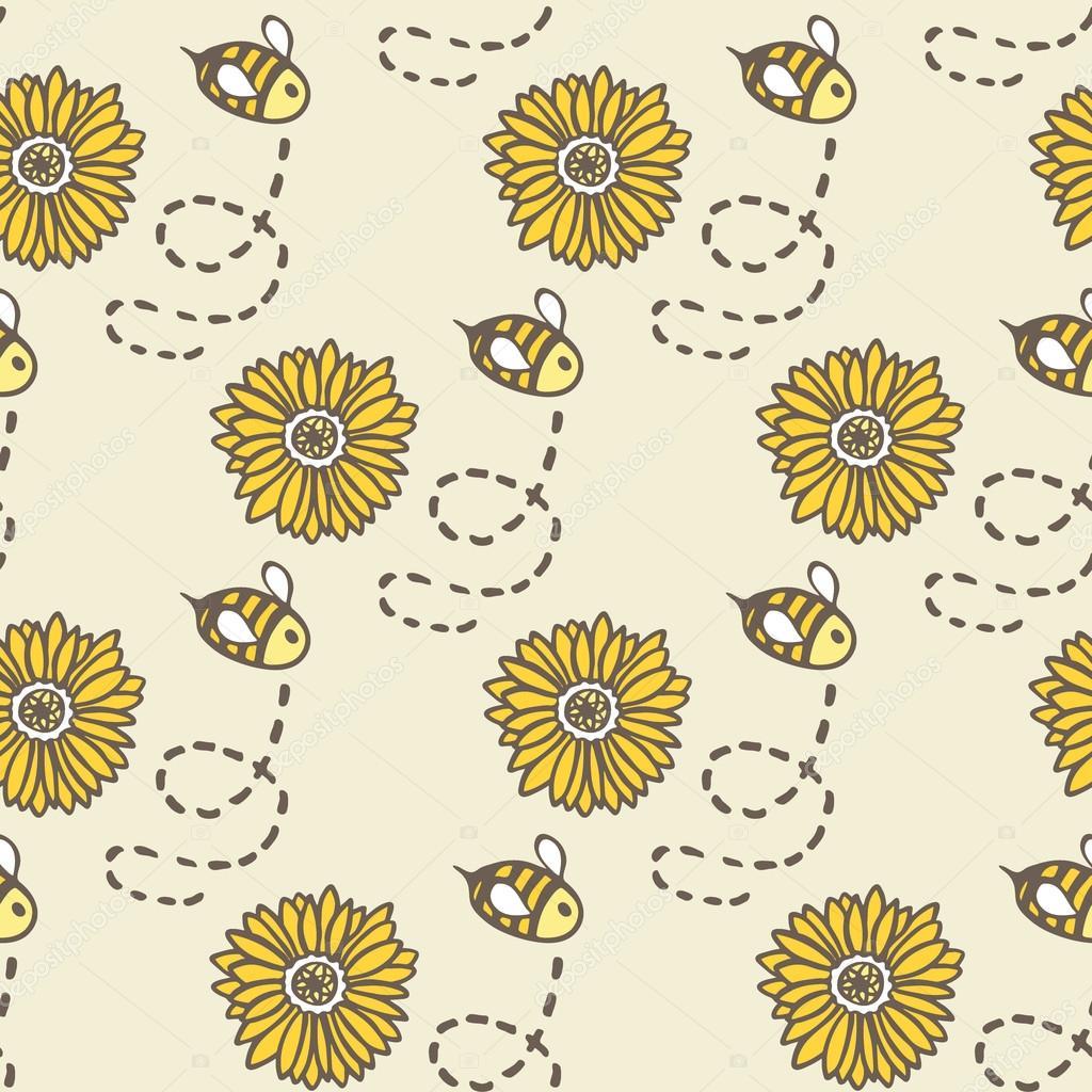 1024x1024 Honey Bee And Sunflower. Hand Drawn Seamless Cartoon Pattern
