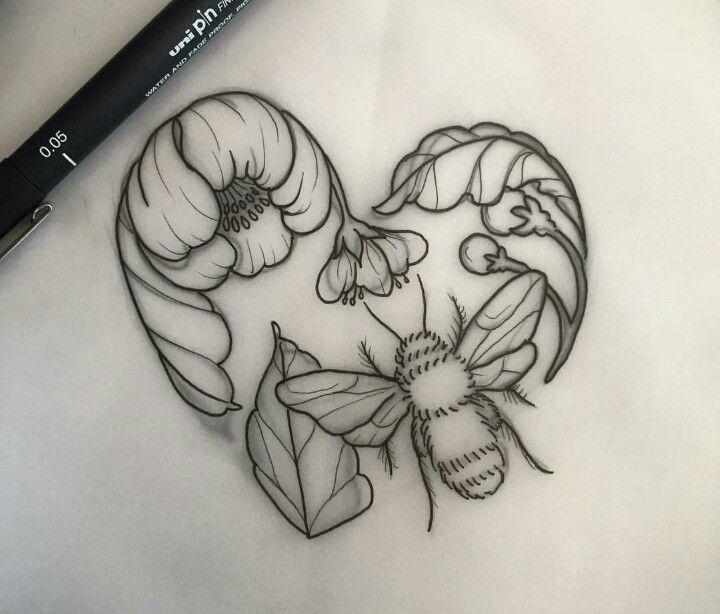 720x614 Honeybee Doodling Animals Tattoo, Tatting