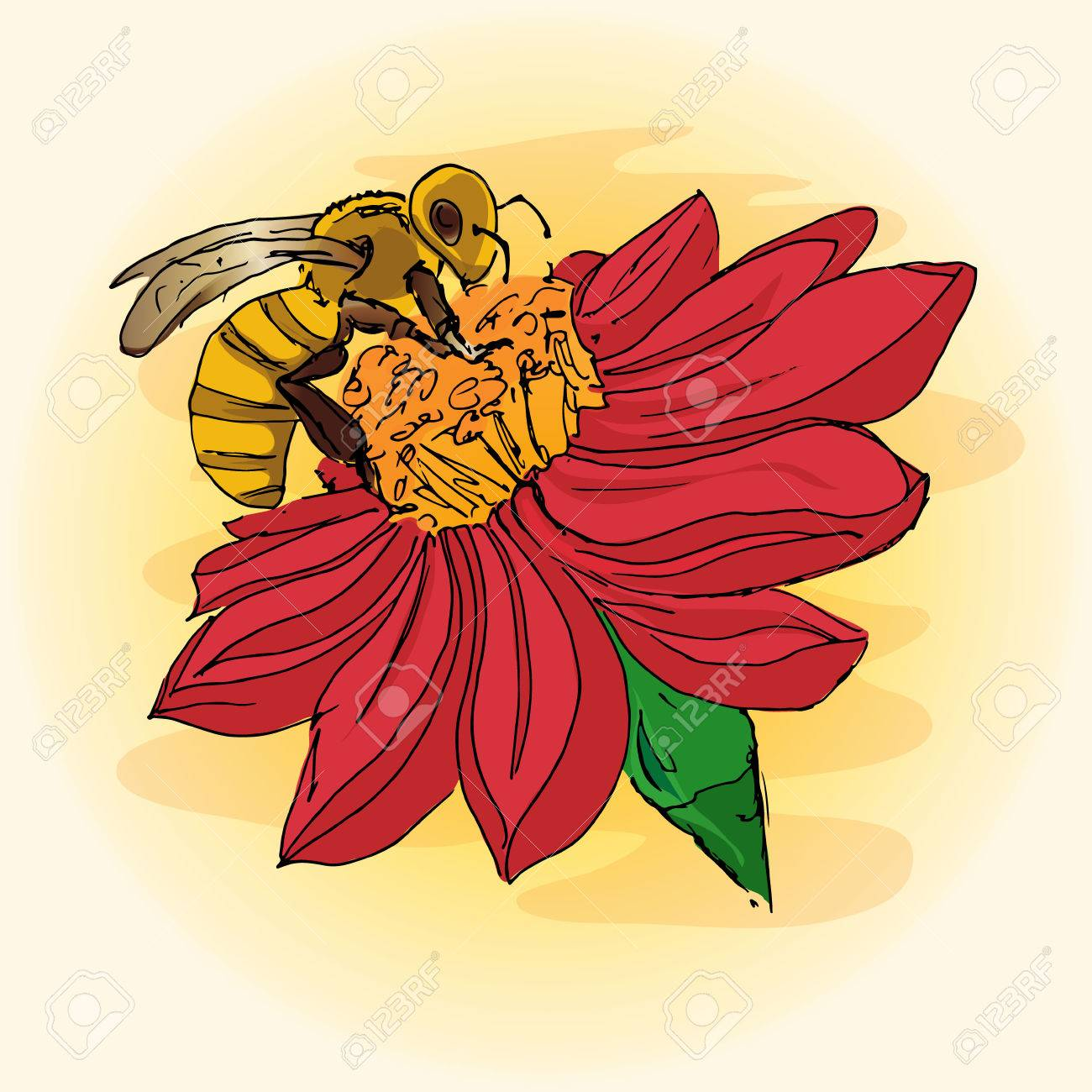 Bee On Flower Drawing at GetDrawings.com | Free for personal use Bee ...