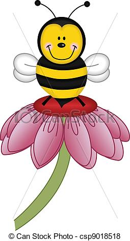255x470 Image Representing A Bee Visiting Flower, Isolated On White