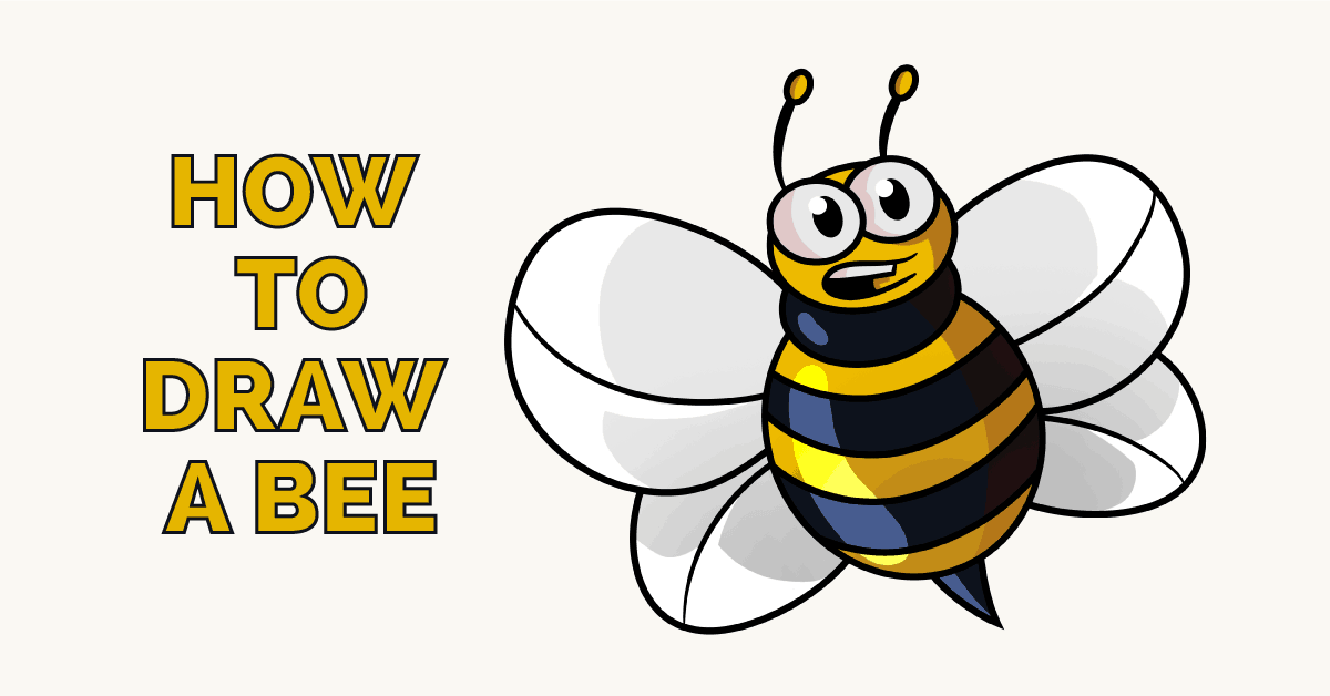 1200x628 How To Draw A Cartoon Bee Easy Drawing Guides