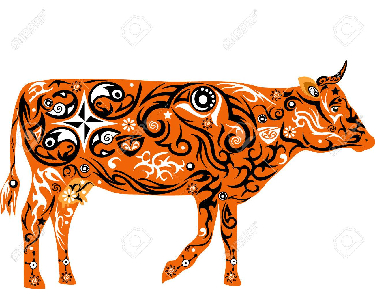 1300x1001 Cow With A Pattern, A Pet, Cattle, The Girl With Drawing, A Mammal