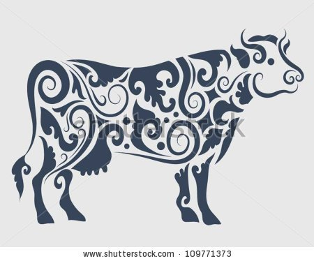450x374 Cow Ornament Vector. Cow Drawing With Floral Ornament Decoration