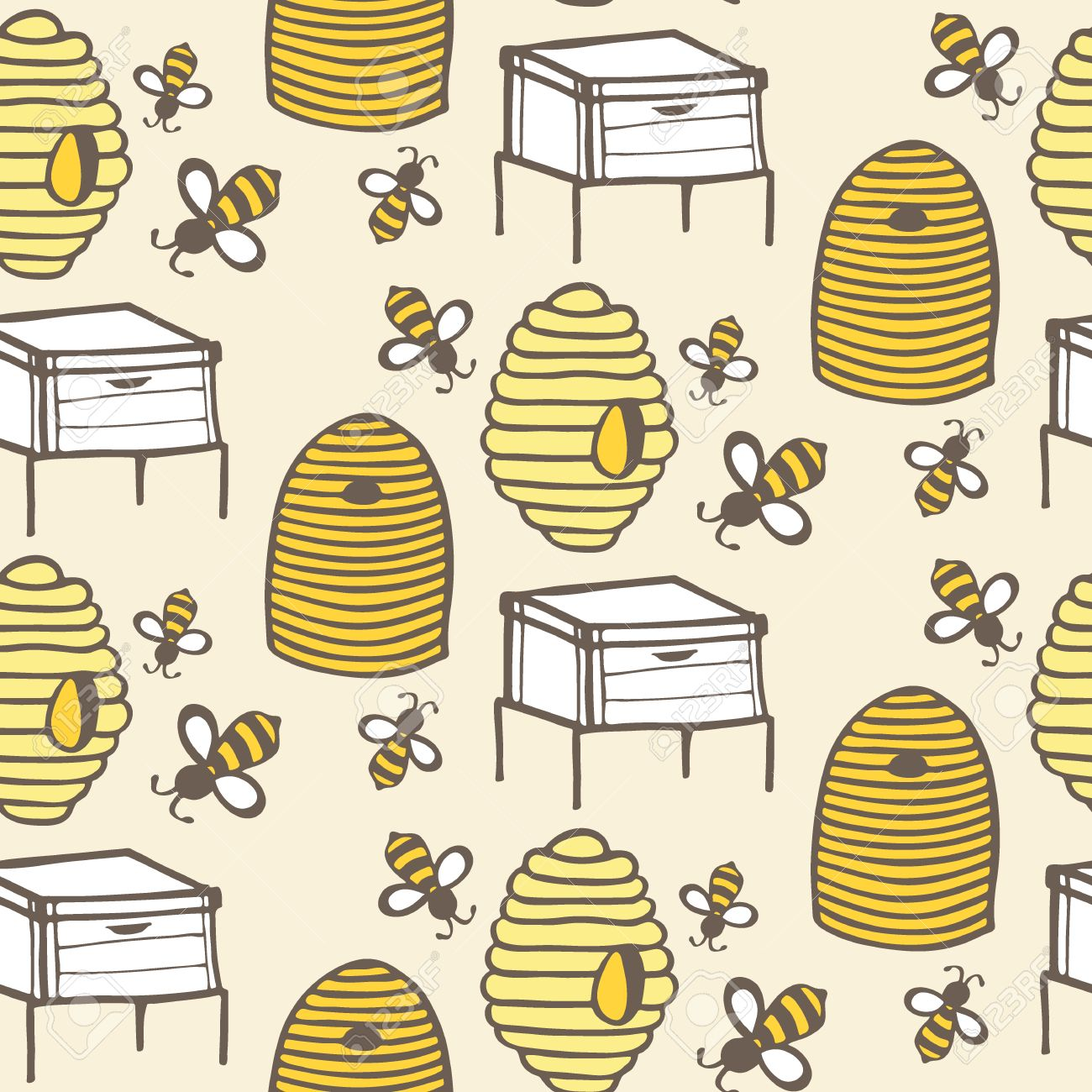 1300x1300 Beehive And Bee. Hand Drawn Seamless Cartoon Pattern With Honey