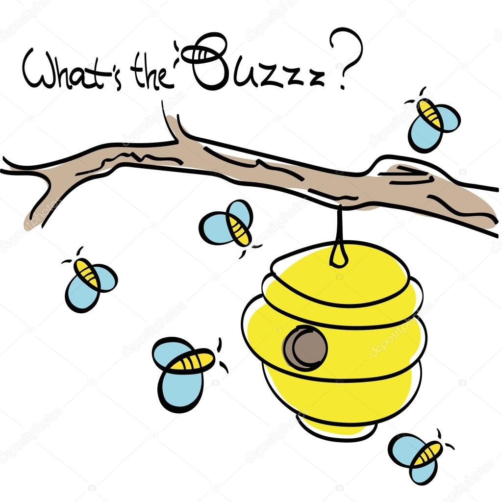 1024x1024 Bees With Beehive Vector Drawing Stock Vector Jelliclecat