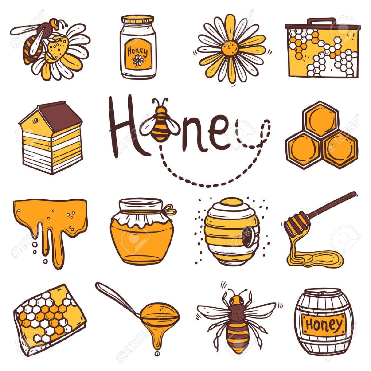 1300x1300 Honey Hand Drawn Decorative Icons Set With Beehive Wax Cell Flying