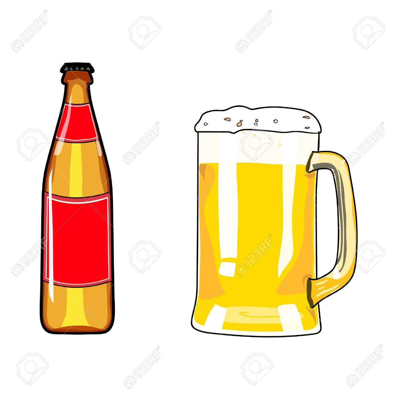 1300x1300 Beer Bottle And Mug Of Beer. Beer Icon. Beer Design Element