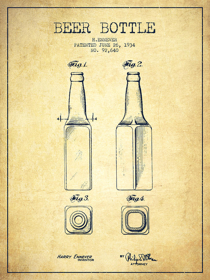675x900 Beer Bottle Patent Drawing From 1934
