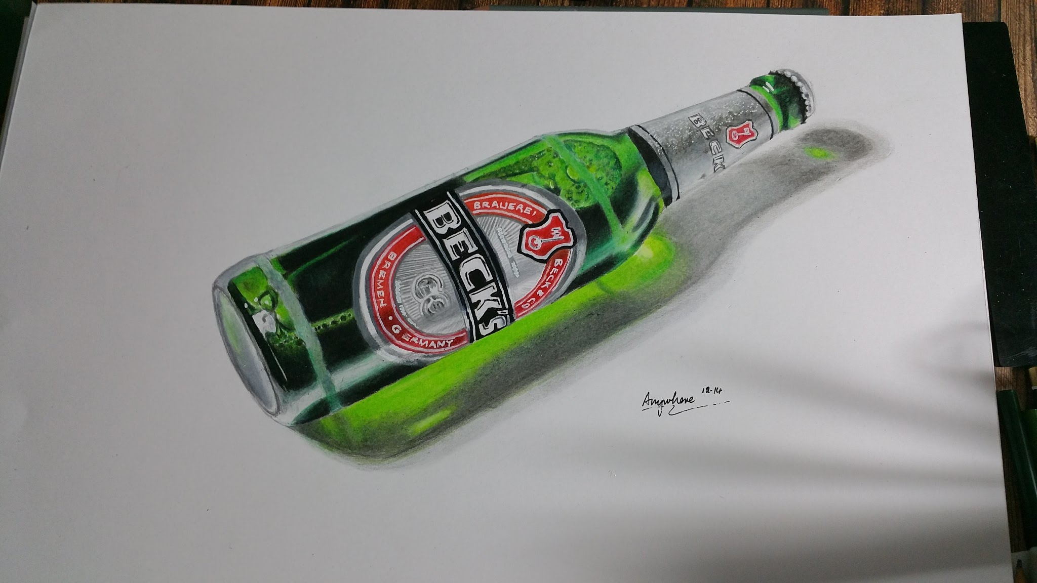 2048x1152 Drawing A Bottle Of Beck's Beer