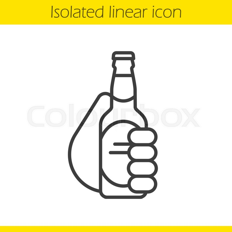800x800 Hand Holding Beer Bottle Linear Icon. Cheers. Thin Line