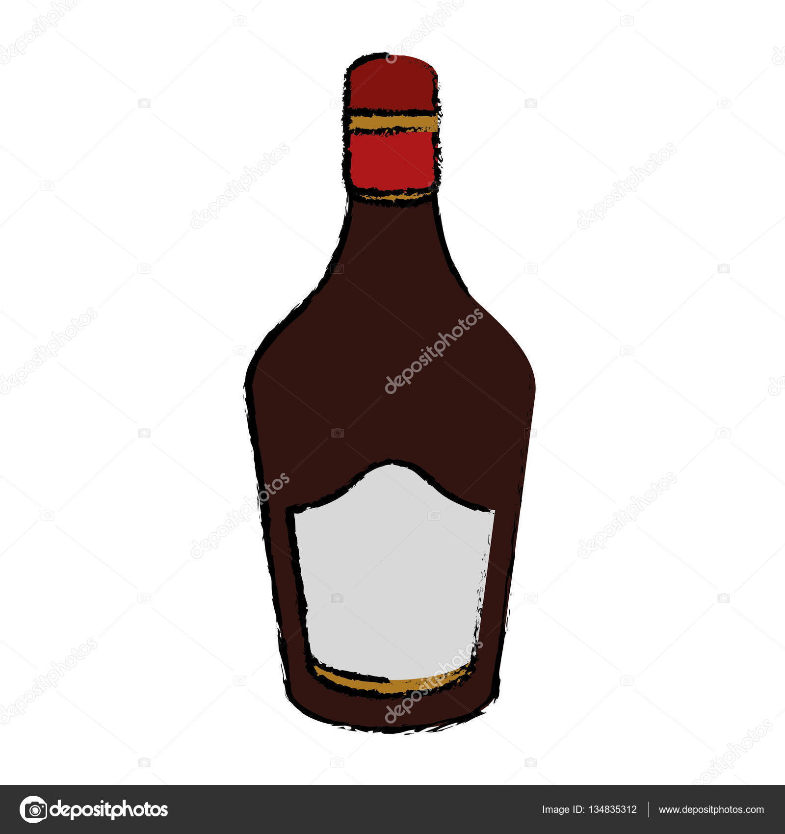 1600x1700 Drawing Bottle Cream Whiskey Liqueur Icon Stock Vector
