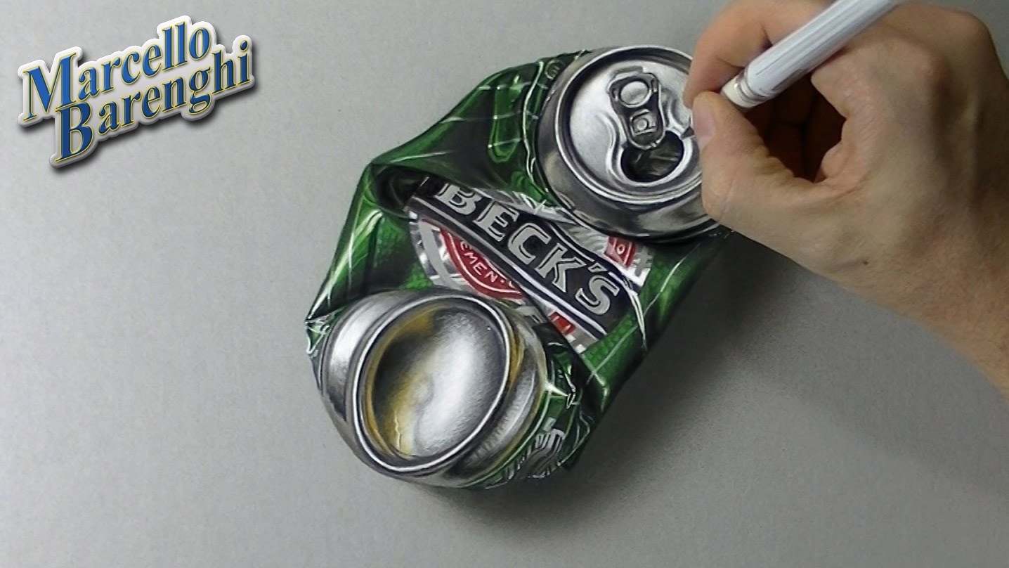 1436x808 How To Draw A Crushed Can Of Beer 3d