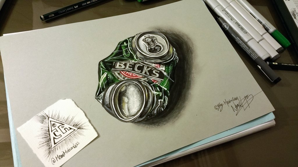 1024x576 Crushed Beer Can (Hyperrealistic Drawing) By Maximotionless