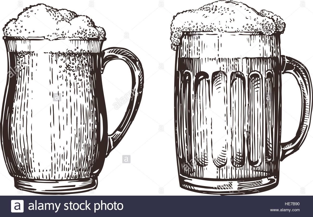 1300x904 Hand Drawn Beer Mug. Elements For Design Menu Restaurant Or Pub