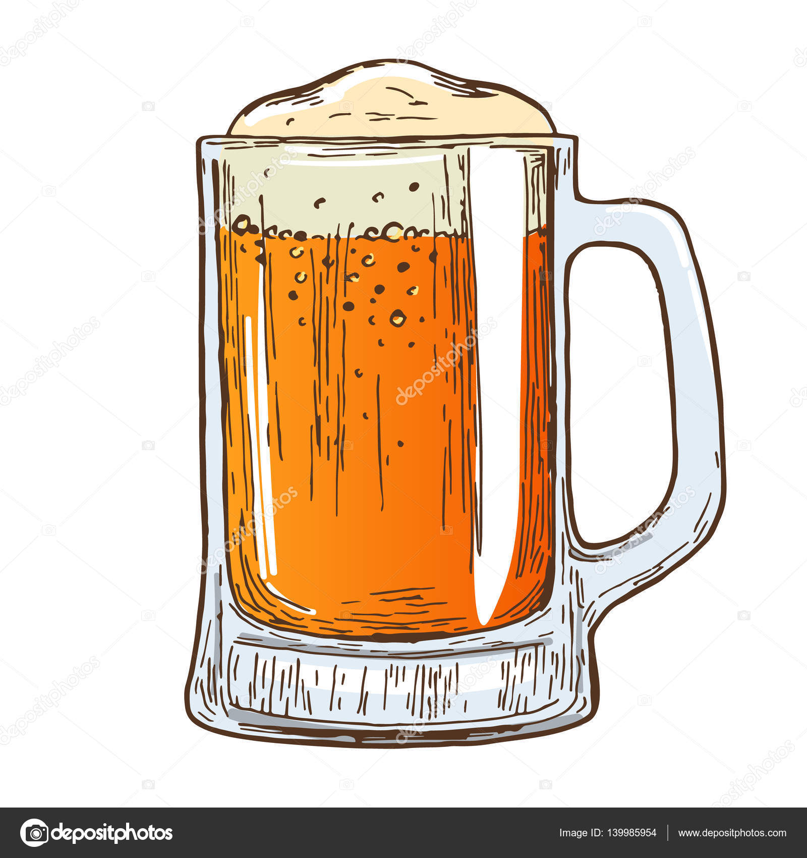 1600x1700 Beer Mug On White Background Stock Vector