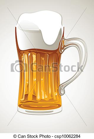 318x470 Fresh Gold Beer In Glass Mug Vector