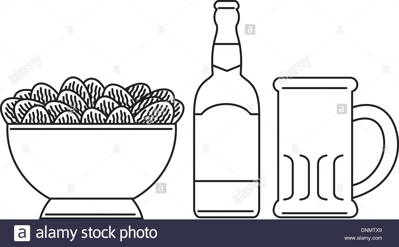 1300x805 Line Drawing Illustration A Beer Bottle, Beer Mug, Bowl